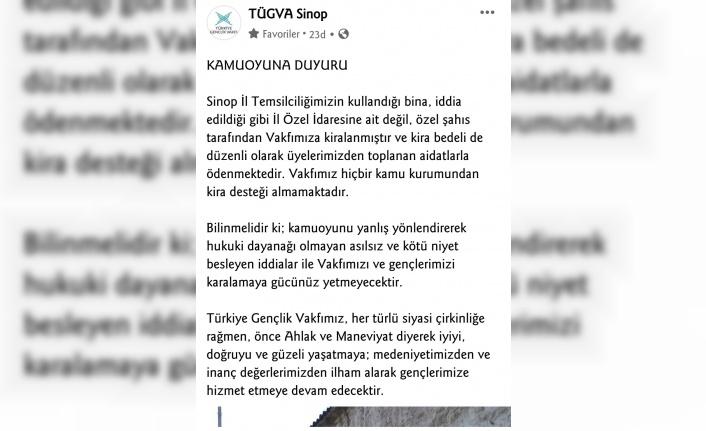 SİNOP TÜGVA'DAN 'KİRA' AÇIKLAMASI